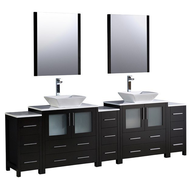 Fresca fvn62 96es vsl torino 96 inch espresso modern for 96 bathroom cabinets