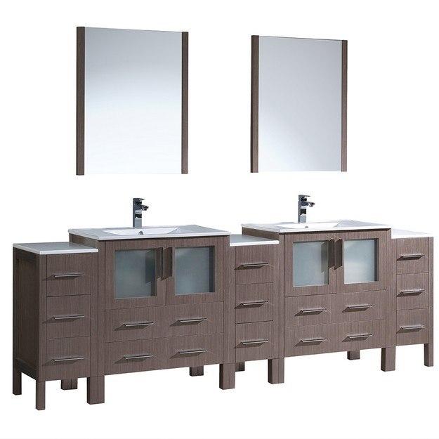 96 Inch Bathroom Vanity Home Depot: Fresca FVN62-96GO-UNS Torino 96 Inch Gray Oak Modern
