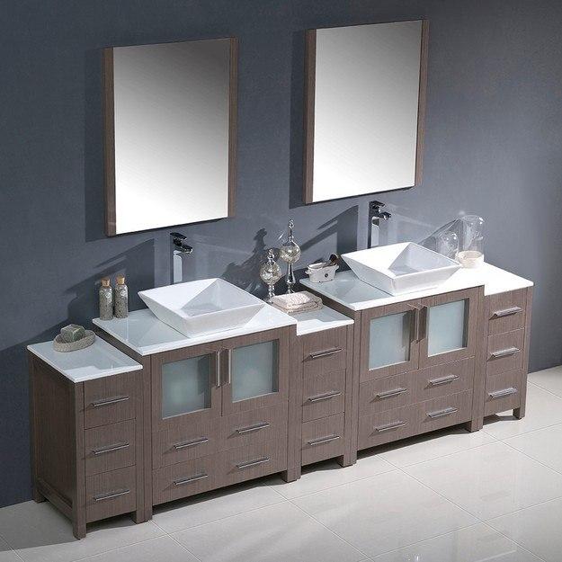 Fresca FVN62 96GO VSL Torino 96 Inch Gray Oak Modern Double Sink Bathroom Van