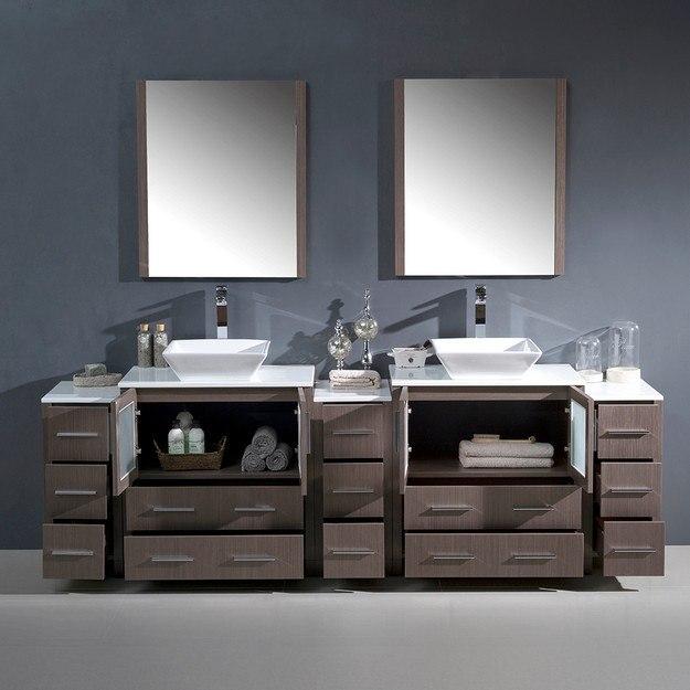 Fresca fvn62 96go vsl torino 96 inch gray oak modern for 96 bathroom cabinets