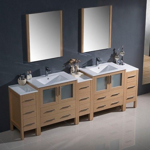 Fresca Fvn62 96lo Uns Torino 96 Inch Light Oak Modern Double Sink Bathroom Vanity W 3 Side