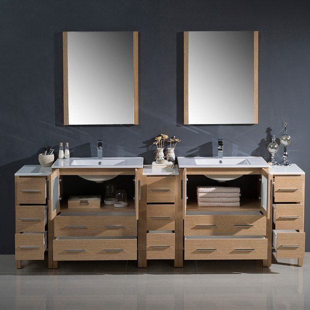 Fresca fvn62 96lo uns torino 96 inch light oak modern for 96 bathroom cabinets