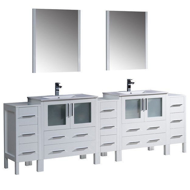 Fresca fvn62 96wh uns torino 96 inch white modern double for 96 bathroom cabinets