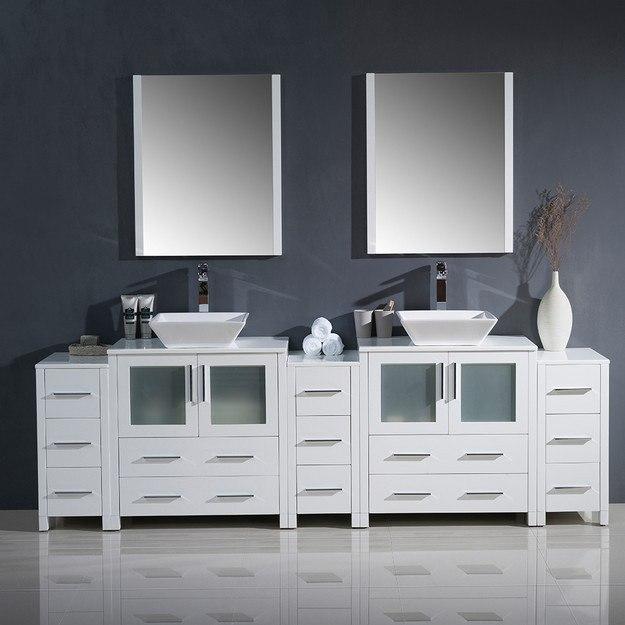 Fresca fvn62 96wh vsl torino 96 inch white modern double for 96 bathroom cabinets