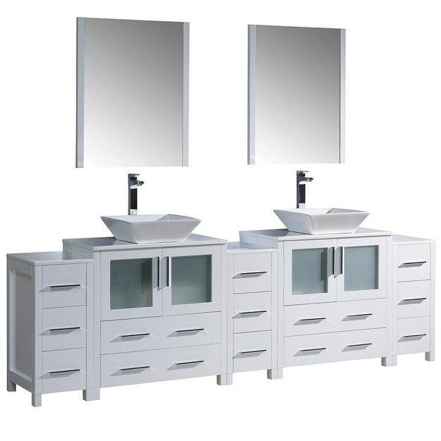 white modern double sink bathroom vanity w 3 side cabinets vessel