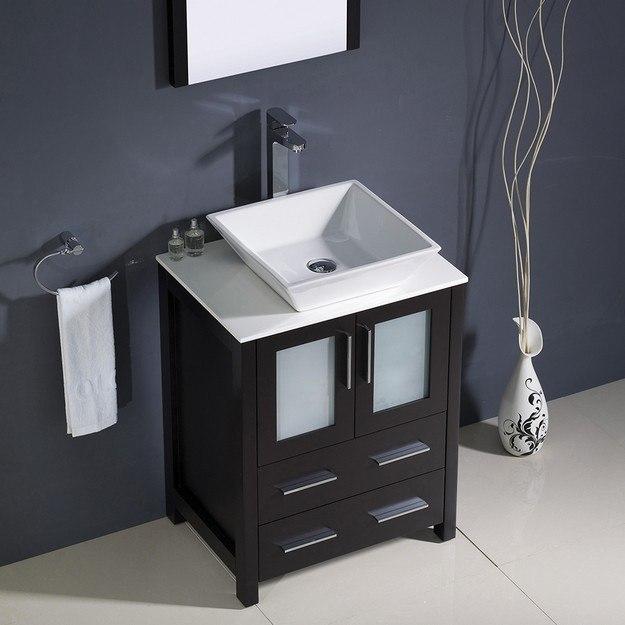 Fresca FVN6224ES VSL Torino 24 Inch Espresso Modern Bathroom Vanity W Vessel