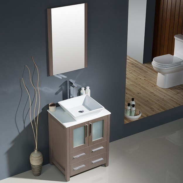 Fresca Fvn6224go Vsl Torino 24 Inch Gray Oak Modern Bathroom Vanity W Vessel Sink Fvn6224go Vsl