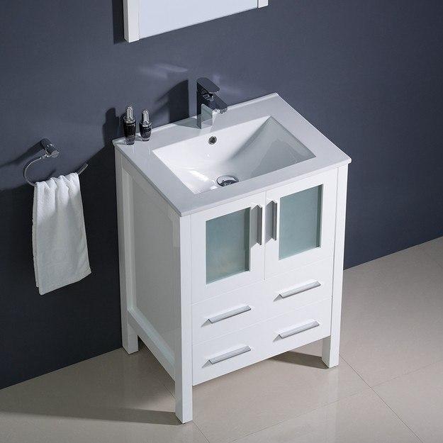 Fresca fvn6224wh uns torino 24 inch white modern bathroom vanity w undermount sink fvn6224whuns for Modern bathroom vanity 24 inch