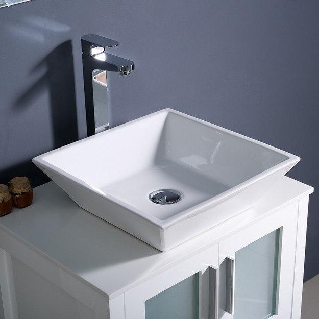 Fresca FVN6224WH VSL Torino 24 Inch White Modern Bathroom Vanity W Vessel Si