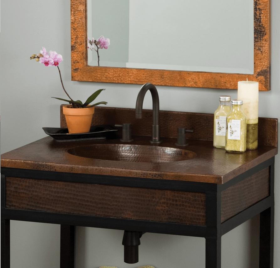 Native trails vnt242 sedona 24 inch copper vanity top in - 24 inch bathroom vanity top with sink ...