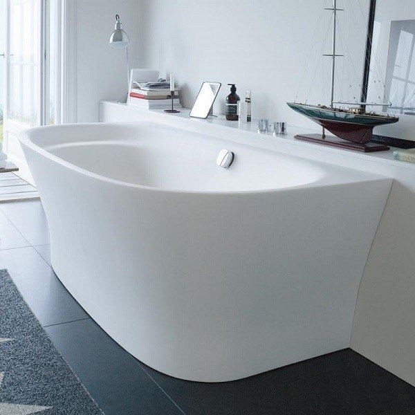 duravit 700364000000090 cape cod 74 3 4 x 35 3 8 inch white oval back to wall base tub with. Black Bedroom Furniture Sets. Home Design Ideas