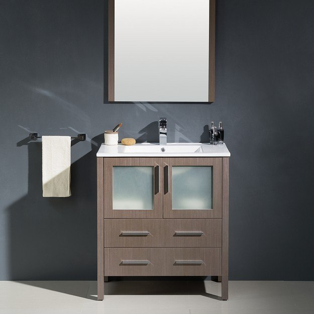 Fresca Fvn6230go Uns Torino 30 Inch Gray Oak Modern Bathroom Vanity W Integrated Sink Fvn6230go
