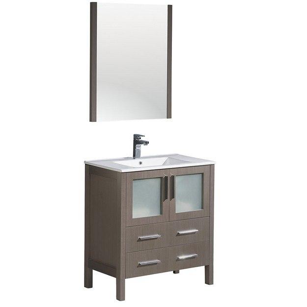 Fresca fvn6230go uns torino 30 inch gray oak modern for Gray 30 inch bathroom vanity