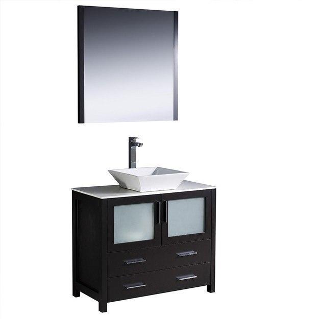 Fresca Fvn6236es Vsl Torino Inch Espresso Modern Bathroom Vanity W Vessel Sink