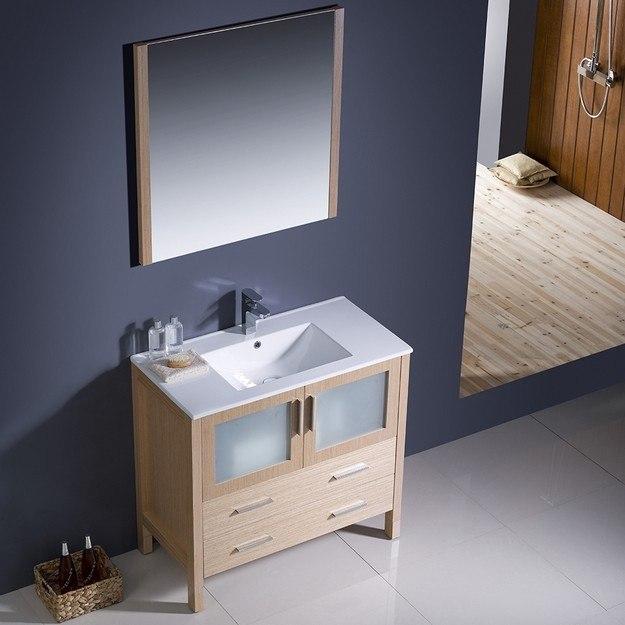 Fresca Fvn6236lo Uns Torino Inch Light Oak Modern Bathroom Vanity W Undermount Sink