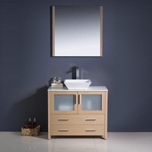 Fresca FVN6236LO VSL Torino Inch Light Oak Modern Bathroom Vanity W Ve
