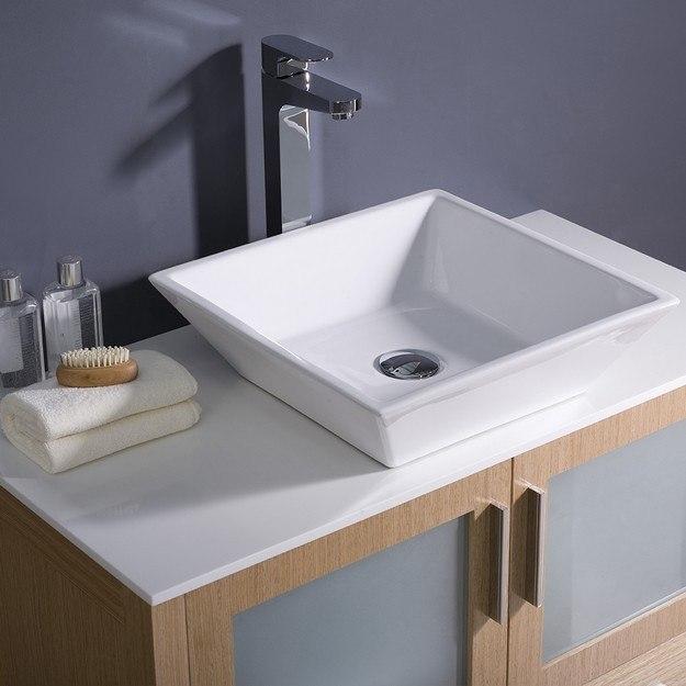 Fresca Fvn6236lo Vsl Torino Inch Light Oak Modern Bathroom Vanity W Vessel Sink