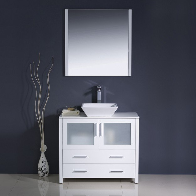 Fresca Fvn6236wh Vsl Torino Inch White Modern Bathroom Vanity W Vessel Sink Fvn6236whvsl