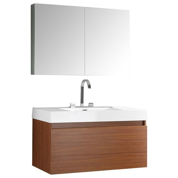 39 inch teak modern bathroom vanity w medicine cabinet fresca vanity