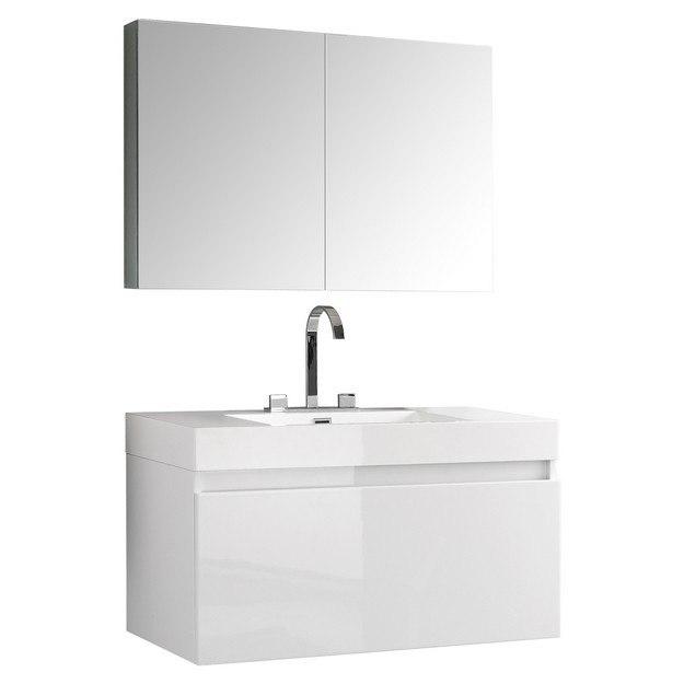 mezzo 39 inch white modern bathroom vanity w medicine cabinet