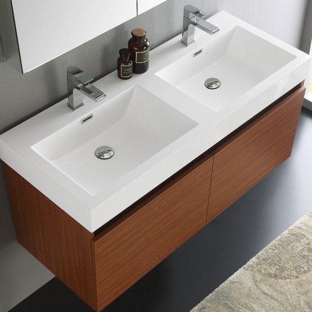 Fresca fvn8012tk senza mezzo 48 inch teak wall hung double - 48 inch double sink bathroom vanity ...