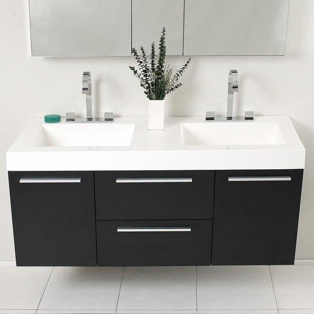 fresca fvn8013bw opulento 54 inch black modern double sink bathroom vanity w medicine cabinet. Black Bedroom Furniture Sets. Home Design Ideas