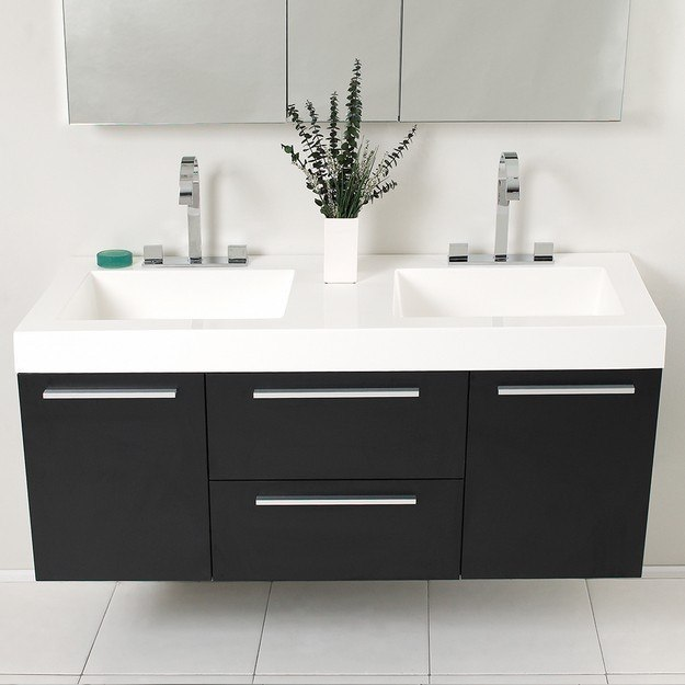 Fresca fvn8013bw opulento 54 inch black modern double sink - 54 inch double sink bathroom vanity ...