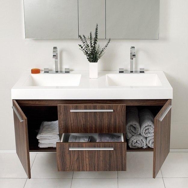 fresca fvn8013gw opulento 54 inch walnut modern double sink bathroom vanity w medicine cabinet. Black Bedroom Furniture Sets. Home Design Ideas