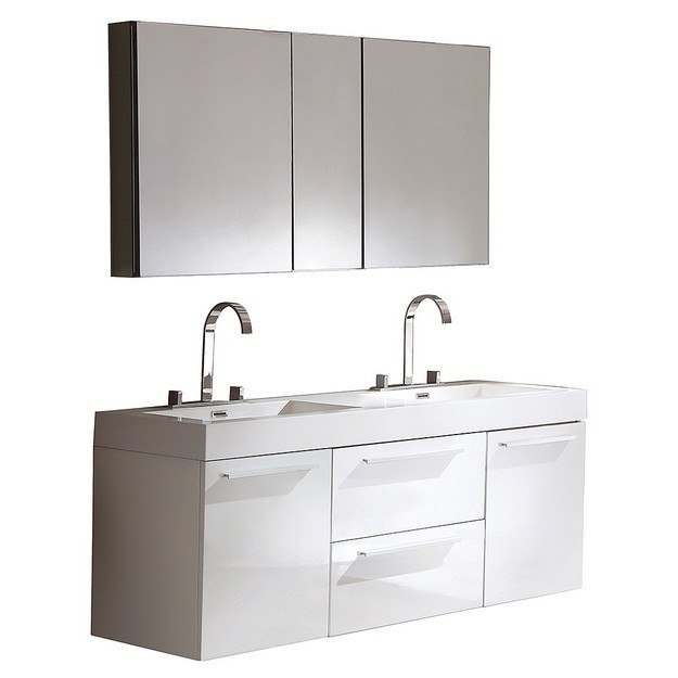 Fresca fvn8013wh opulento 54 inch white modern double sink for 54 double sink bathroom vanity