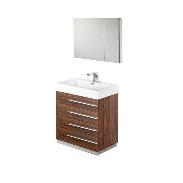 Fresca Fvn8030gw Livello Inch Walnut Modern Bathroom