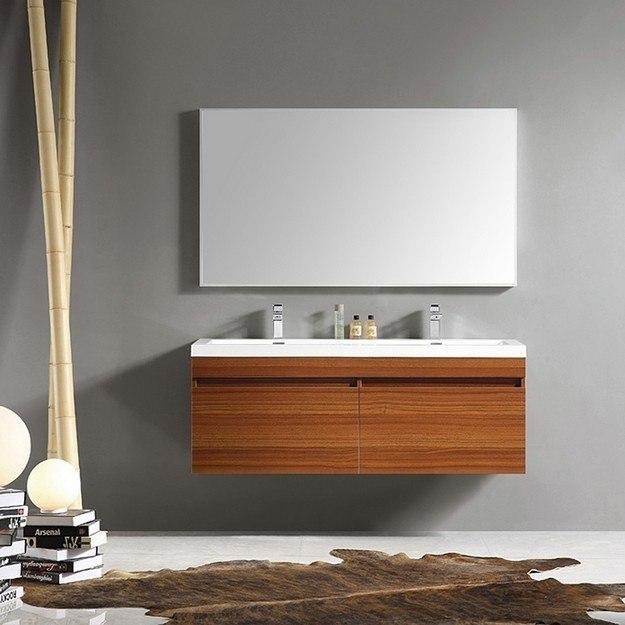 Fresca Fvn8040tk Largo Inch Teak Modern Bathroom Vanity W Wavy Double Sinks Fresca