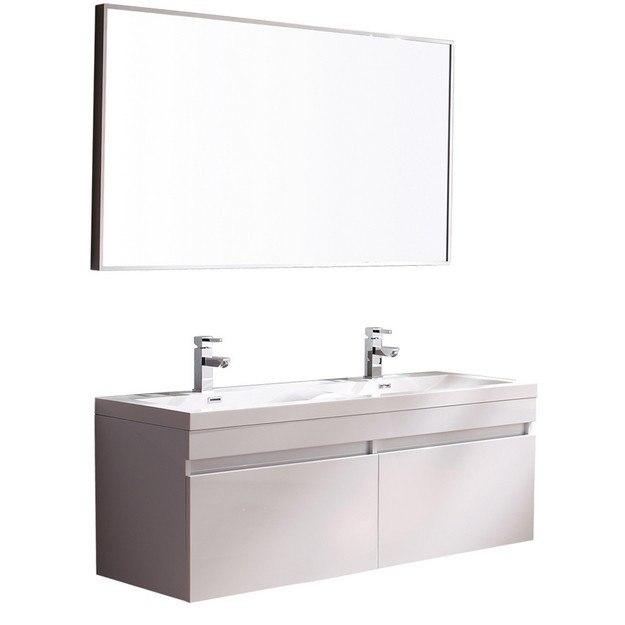Fresca Fvn8040wh Largo Inch White Modern Bathroom Vanity W Wavy Double Sinks Fresca