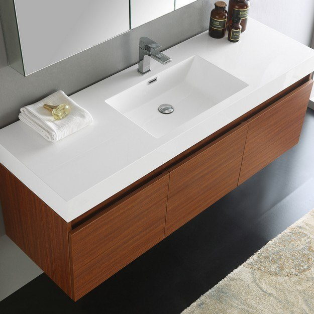 Fresca fvn8041tk senza mezzo 60 inch teak wall hung single sink modern bathroom vanity with 60 in bathroom vanities with single sink