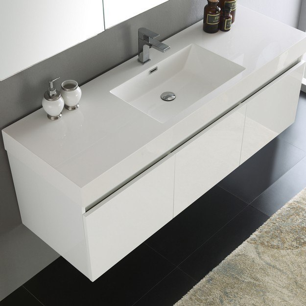 Fresca fvn8041wh senza mezzo 60 inch white wall hung 60 inch bathroom cabinet single sink