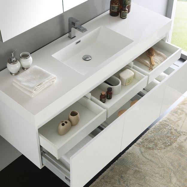 Fresca fvn8041wh senza mezzo 60 inch white wall hung - 60 inch bathroom cabinet single sink ...