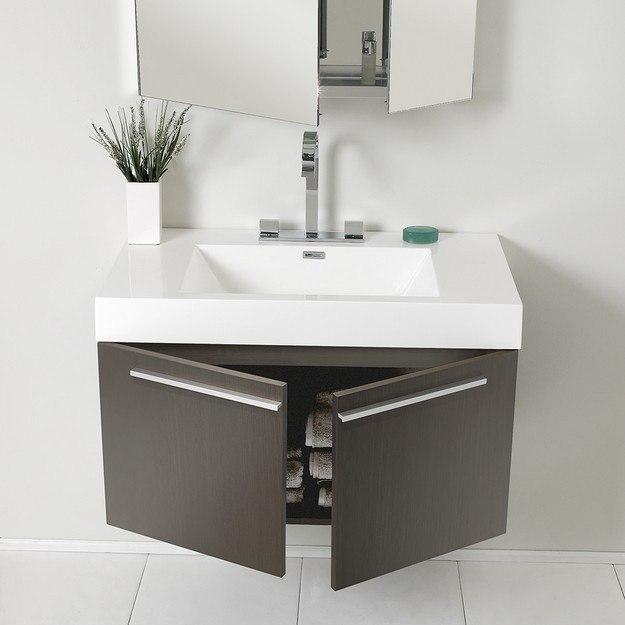 36 Modern Grey White Bathrooms That Relax Mind Body Soul: Fresca FVN8090GO Senza Vista 36 Inch Gray Oak Modern