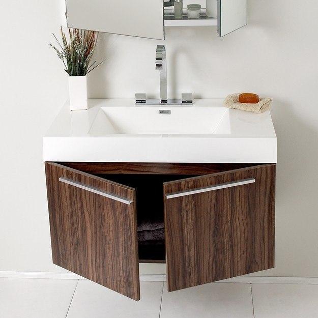 Fresca Fvn8090gw Vista Inch Walnut Modern Bathroom Vanity W Medicine Cabinet Fresca