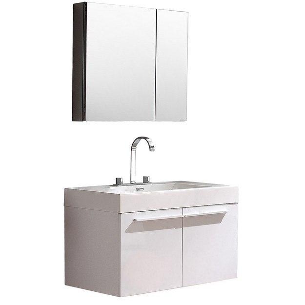 Fresca Fvn8090wh Vista Inch White Modern Bathroom Vanity W Medicine Cabinet Fresca