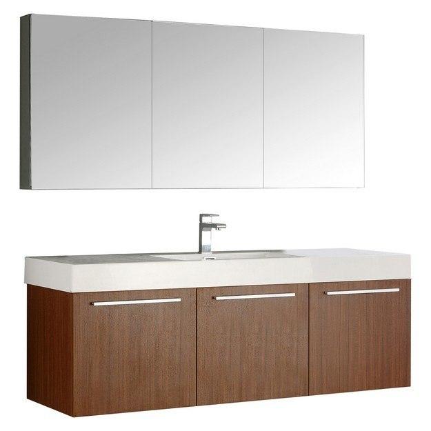 Fresca fvn8093tk senza vista 60 inch teak wall hung single - 60 inch bathroom cabinet single sink ...