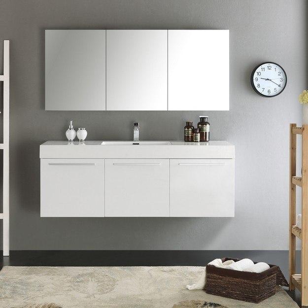 Fresca fvn8093wh senza vista 60 inch white wall hung - 60 inch bathroom cabinet single sink ...