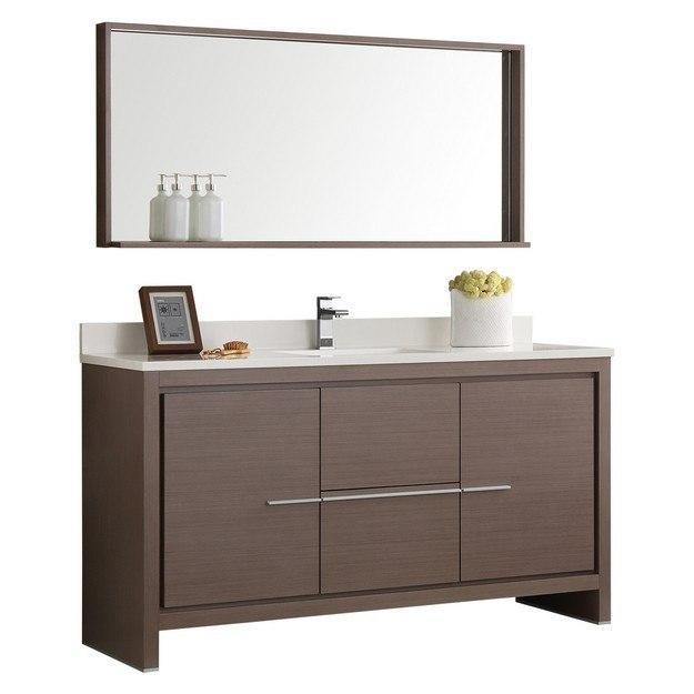 Fresca FVN8119GO S Trieste Allier 60 Inch Gray Oak Modern Single Sink Bathroo