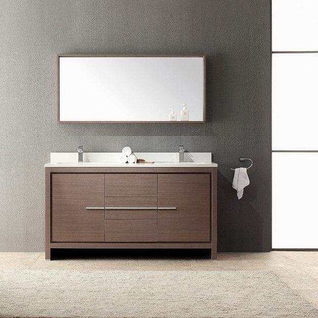 Fresca FVN8119GO Allier 60 Inch Gray Oak Modern Double Sink Bathroom Vanity W