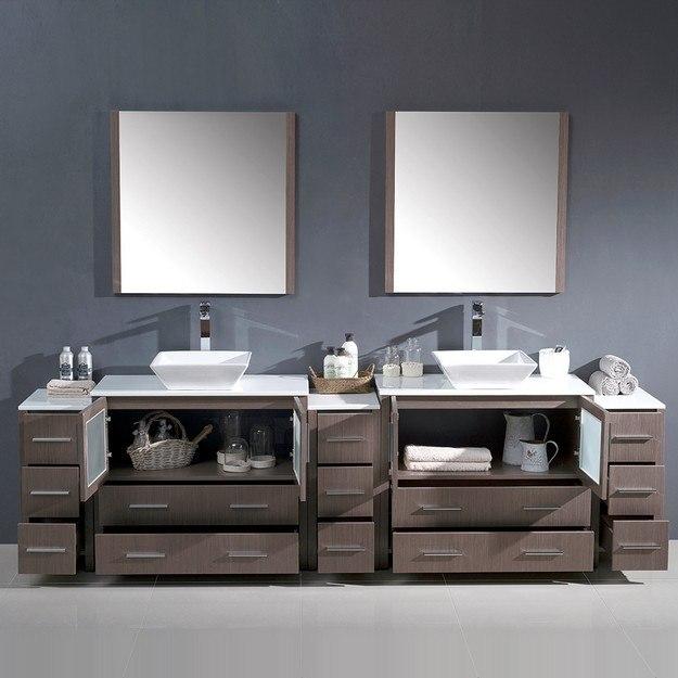 Fresca FVN62 108GO VSL Torino 108 Inch Gray Oak Modern Double Sink Bathroom V