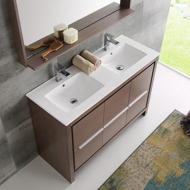 fresca fvn8148go d trieste allier 48 inch gray oak modern double sink bathroom vanity with. Black Bedroom Furniture Sets. Home Design Ideas