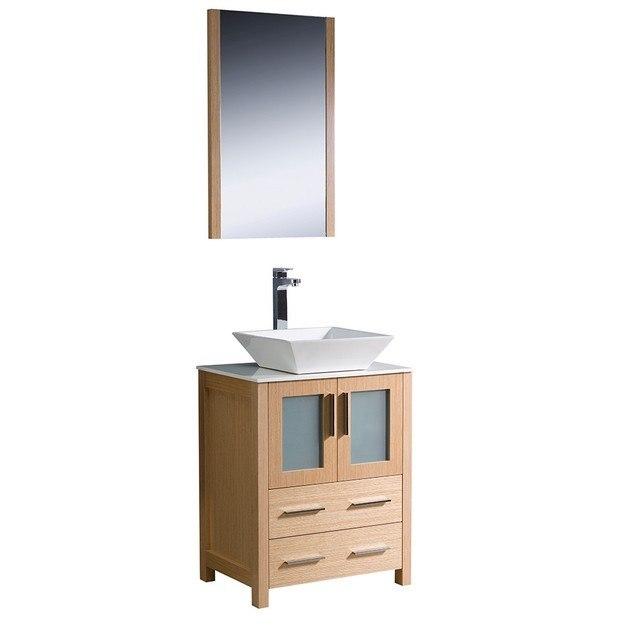 Fresca FVN6224LO VSL Torino 24 Inch Light Oak Modern Bathroom Vanity W Vesse