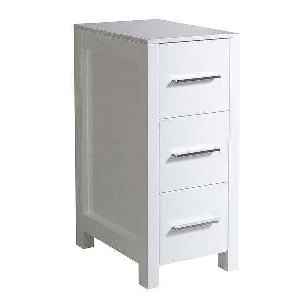 Fresca fst6212wh torino 12 inch white bathroom linen side for Bathroom cabinets 55cm wide