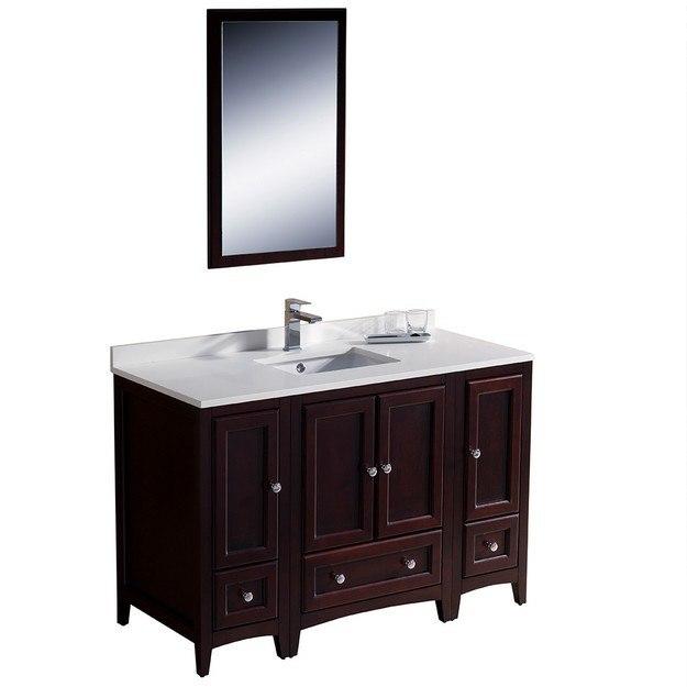oxford 48 inch mahogany traditional bathroom vanity w 2 side cabinets