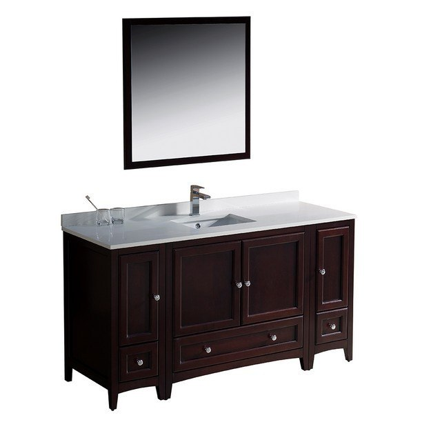 oxford 60 inch mahogany traditional bathroom vanity w 2 side cabinets