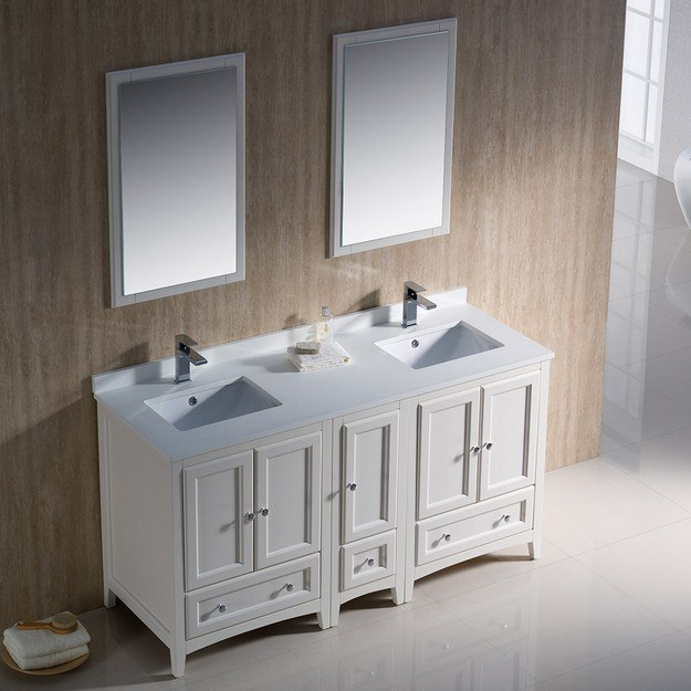 Fresca fvn20 241224aw oxford 60 inch antique white - Antique white double sink bathroom vanities ...