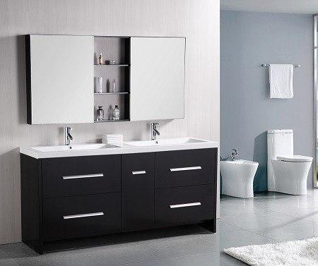 Design element dec079b perfecta 72 inch double sink vanity for Design element marcos solid wood double sink bathroom vanity